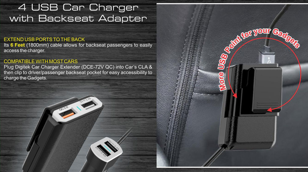Digitek Launches Smart Car Charger Extenders With Easy Rear Seat Accessibility