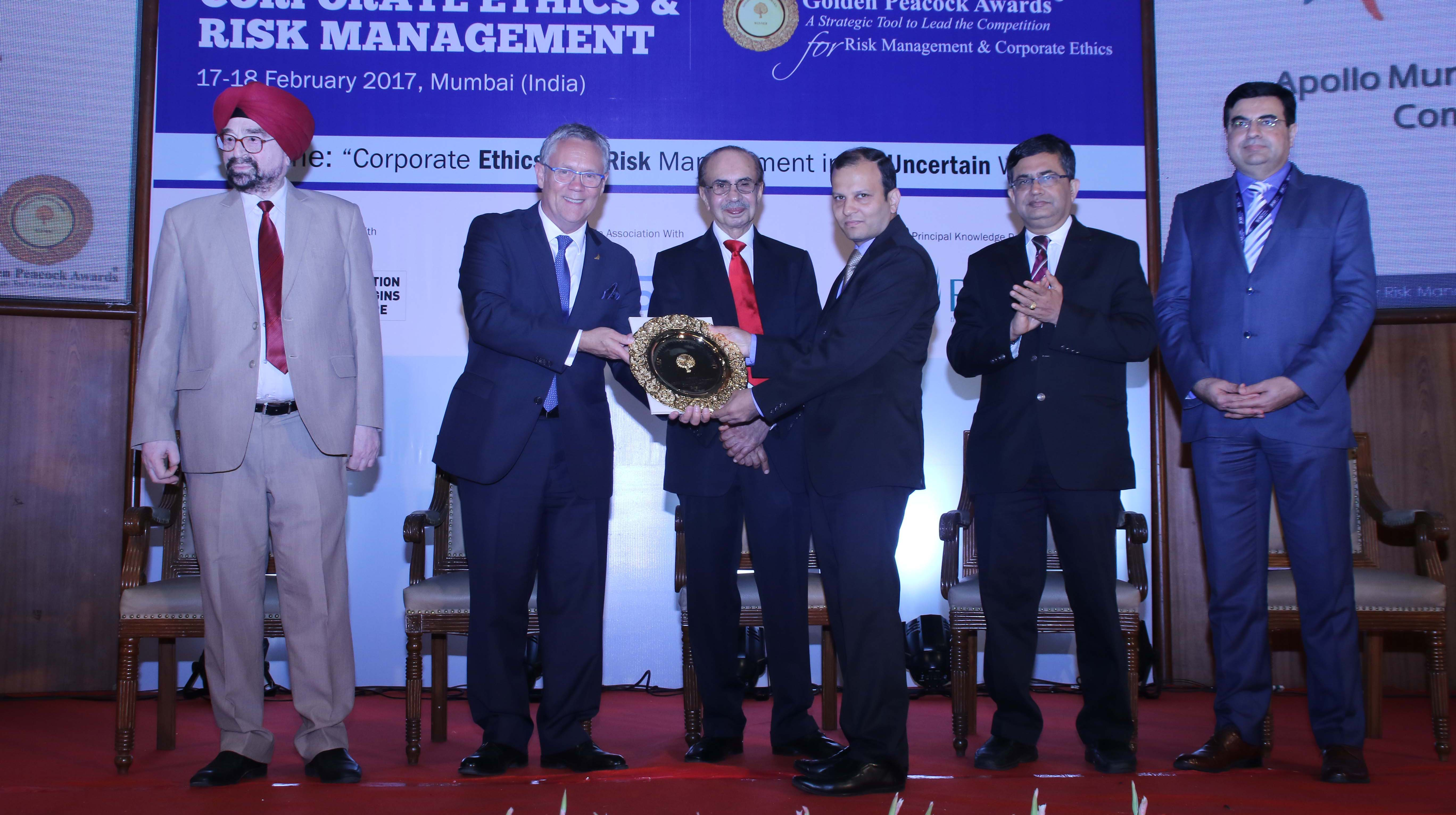 ​Apollo Munich Health Insurance wins Golden Peacock Award for Risk Management 2017